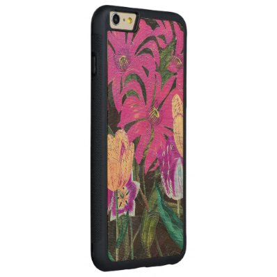 Pink Botanical Tulips Oil Brush Painting Carved® Maple iPhone 6 Plus Bumper Case