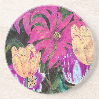 Pink Botanical Tulips Oil Brush Painting Coaster