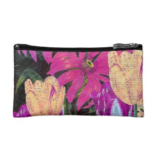 Pink Botanical Tulips Oil Brush Painting Cosmetic Bag