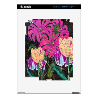 Pink Botanical Tulips Oil Brush Painting iPad 3 Decals