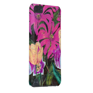 Pink Botanical Tulips Oil Brush Painting iPod Touch 5G Cases