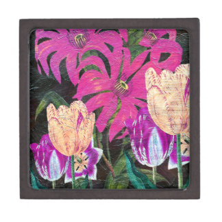 Pink Botanical Tulips Oil Brush Painting Keepsake Box
