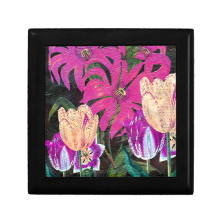 Pink Botanical Tulips Oil Brush Painting Keepsake Box