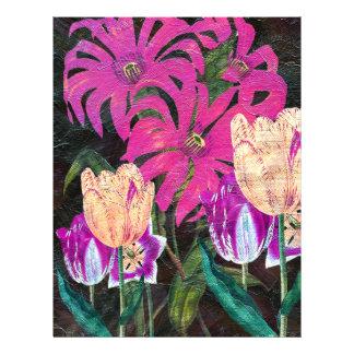 Pink Botanical Tulips Oil Brush Painting Letterhead