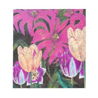 Pink Botanical Tulips Oil Brush Painting Notepad