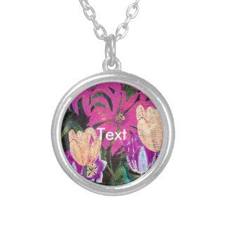 Pink Botanical Tulips Oil Brush Painting Round Pendant Necklace