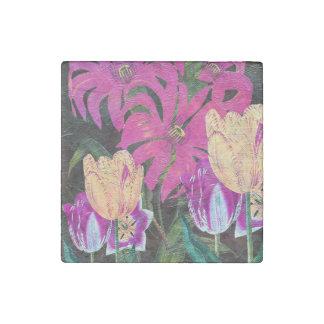 Pink Botanical Tulips Oil Brush Painting Stone Magnet