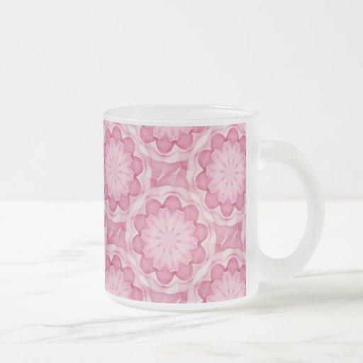 Pink bottlecap flowers frosted mug