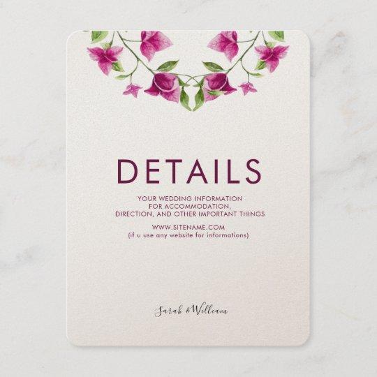 Pink Bougainvillea Flower Wedding Information Card