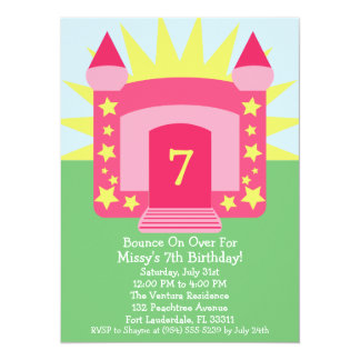 Pink Bounce On Over Bounce House Birthday Party Card