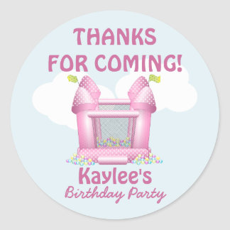 Pink Bouncy Bounce House Birthday Favor Sticker