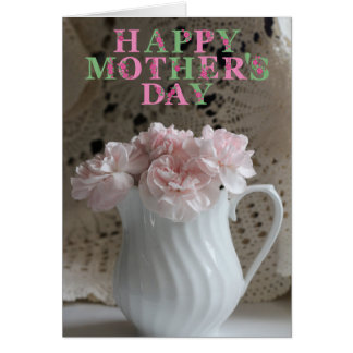 Pink Bouquet and Lace Mothers Day Card