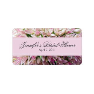 Pink Bouquet Bridal Shower Label in Charcoal