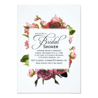 Pink Bouquet Floral Bridal Shower Card