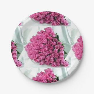 Pink Bouquet of Roses Paper Plates