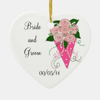 Pink Bouquet Save the Date Ceramic Ornament