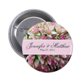 Pink Bouquet Wedding Button in Charcoal Gray