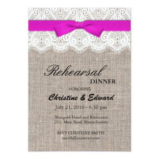 Pink Bow and Lace Wedding Rehearsal Dinner Card