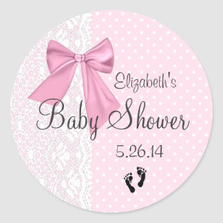Pink Bow and White Lace Baby Shower Favor Classic Round Sticker