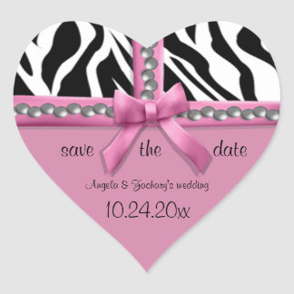 Pink Bow And White Zebra Stripes With Pearls Heart Sticker