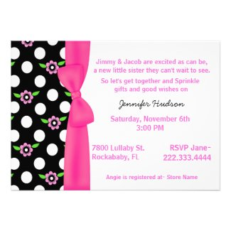 Pink Bow Baby Girl Sprinkle Shower Invitation