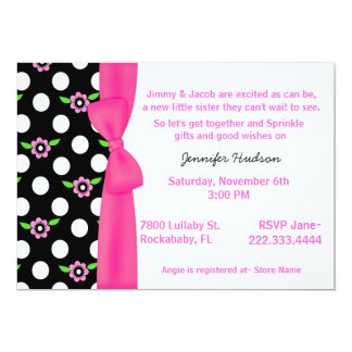 Pink Bow Baby Girl Sprinkle Shower Invitation