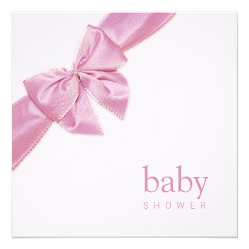baby shower invitation template with pink satin bow for baby