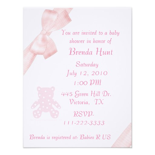 pink bow baby shower invitation x 5 5 invitation card zazzle