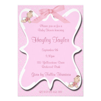 pink bow Baby  Shower Invitation 2