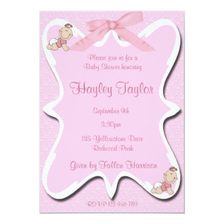 "pink bow Baby  Shower Invitation 2 5"" X 7"" Invitation Card"