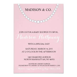 """Pink Bow Baby Shower Invite 5"""" X 7"""" Invitation Card"""