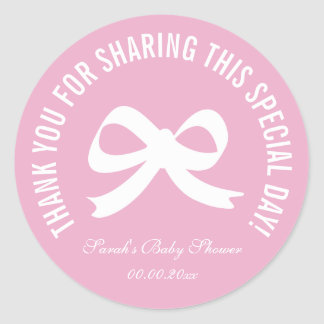 Pink bow baby shower party favor thank you sticker