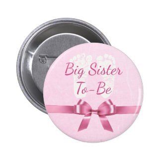 Pink Bow Big Sister to be Baby Shower Button