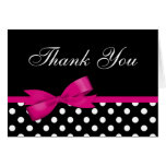 Pink Bow Black Polka Dots Thank You Stationery Note Card