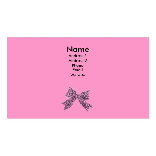 ... business card template. cute and girly- pink card with bow. make it