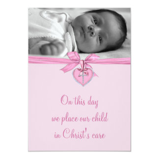 Pink Bow Cross Baby Girl Photo Christening 5x7 Paper Invitation Card