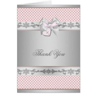 Pink Bow Cross Girls Baptism Christening Thank You Card