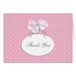 Pink Bow Cross Thank You Cards