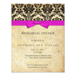 Pink Bow Damask Rehearsal Dinner Invitation