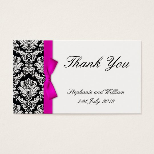 Pink Bow Damask Wedding Thank You Card