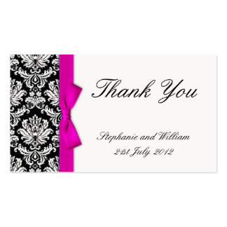 Pink Bow Damask Wedding Thank You Card Double-Sided Standard Business Cards (Pack Of 100)