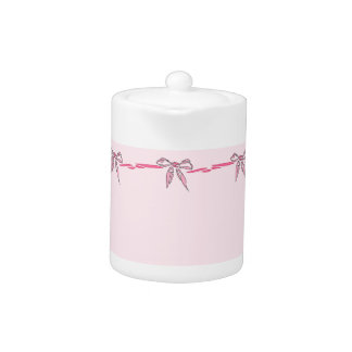 Pink Bow Decorative Ribbon Gifts Teapot