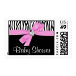 Pink Bow Diamond Heart Zebra Baby Shower Stamp