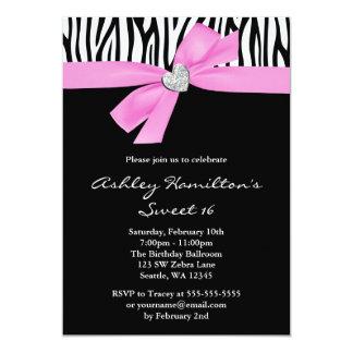 Pink Bow Diamond Heart Zebra Sweet 16 Card