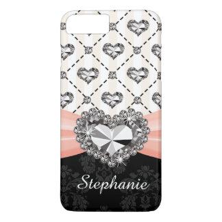 Pink Bow Faux Heart Diamond iPhone 7 Plus Case