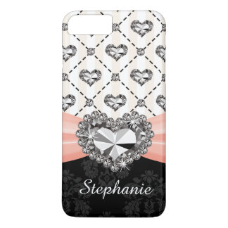 Pink Bow Faux Heart Diamond iPhone 8 Plus/7 Plus Case