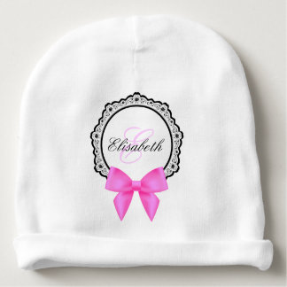 Pink bow flourish monogram name baby girl beanie