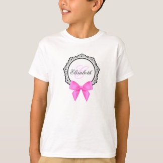 Pink bow flourish monogram name girl shirt