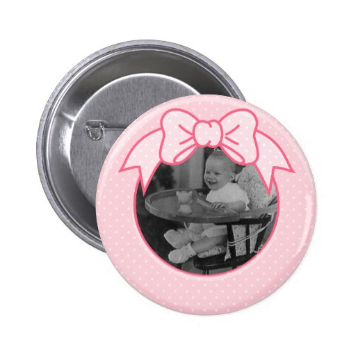 Pink Bow Frame - Customize with Your Own Picture 2 Inch Round Button