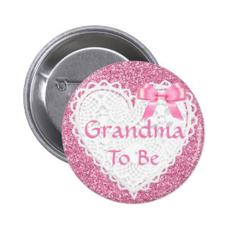 Pink Bow Grandma to be Baby Shower Button